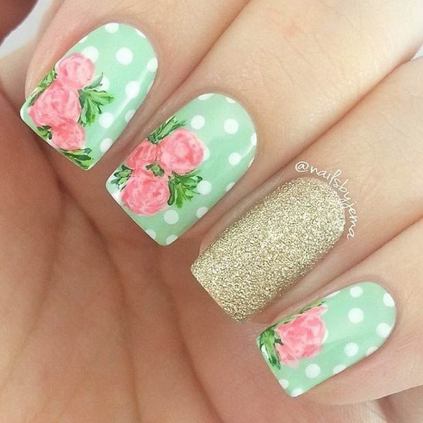 Polka Dot Flowers Nail Design.