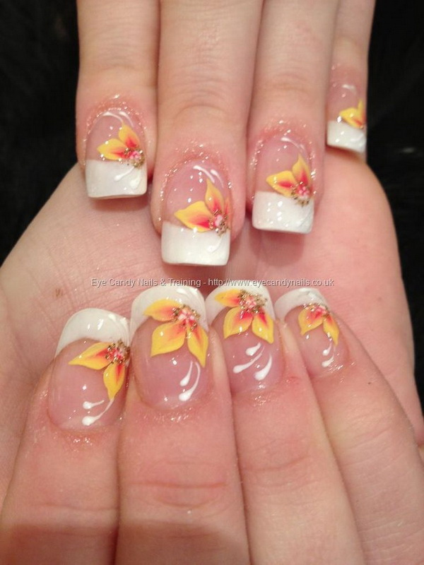 White Tips with Yellow and Orange Flowers On Top - 45+ Pretty Flower Nail Designs - For Creative Juice