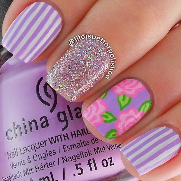 Purple Stripes and Pink Flowers and Silver Glitter Nail Design.