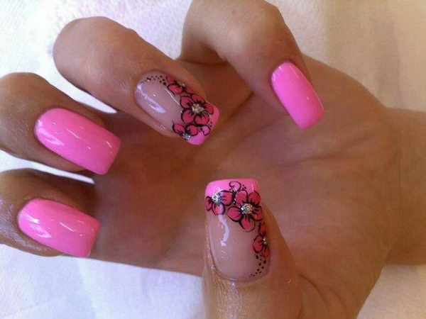 Pink Flower Nail Design - 45+ Pretty Flower Nail Designs - For Creative Juice
