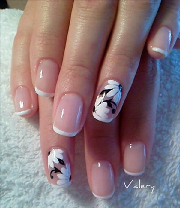 White and Black Floral Accented French Nails.