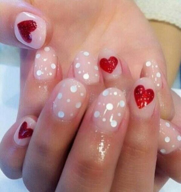 Girly Valentine's Nail Design.