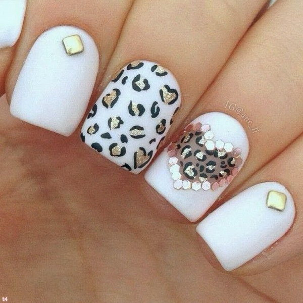White Black Gold Leopard Heart Shaped Nail Art Design.