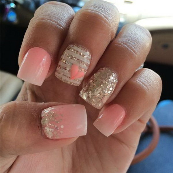 Ombre Paired with Sparkle and a Little Heart Nail Art - 45+ Romantic Heart Nail Art Designs - For Creative Juice