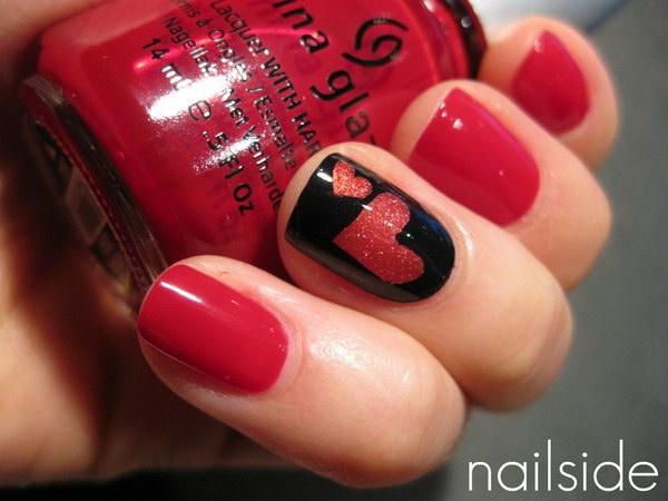 Heart Accent Nail Art Design.