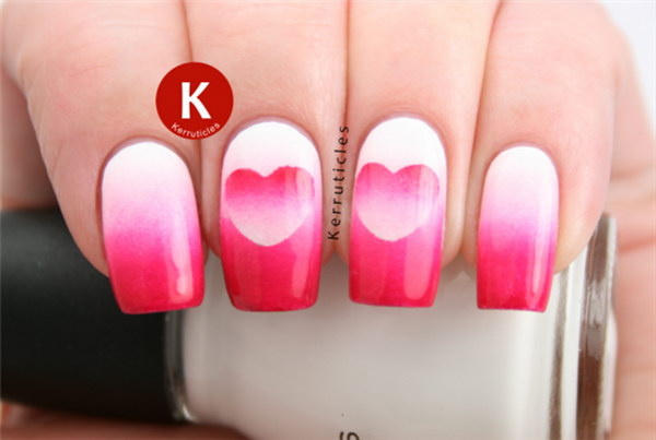 Ombre Heart Nail Design.