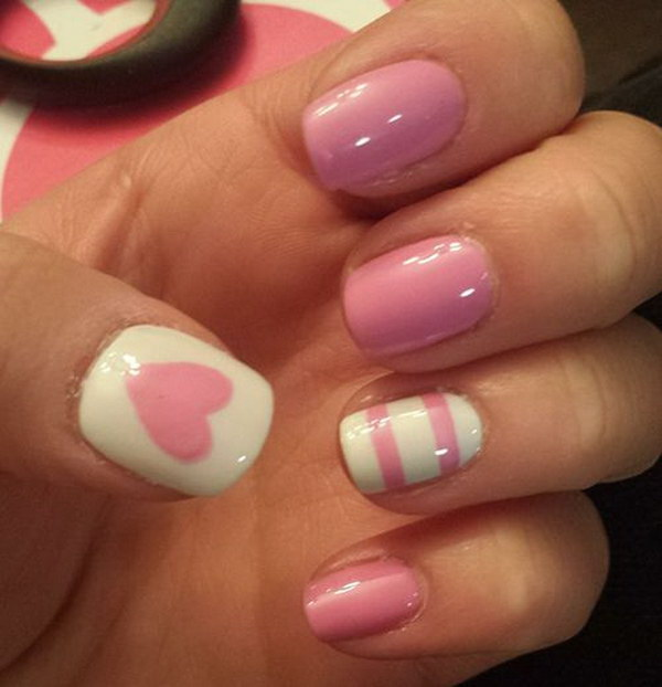 Heart & Strips Valentine's Nail Design. - 45+ Romantic Heart Nail Art Designs - For Creative Juice