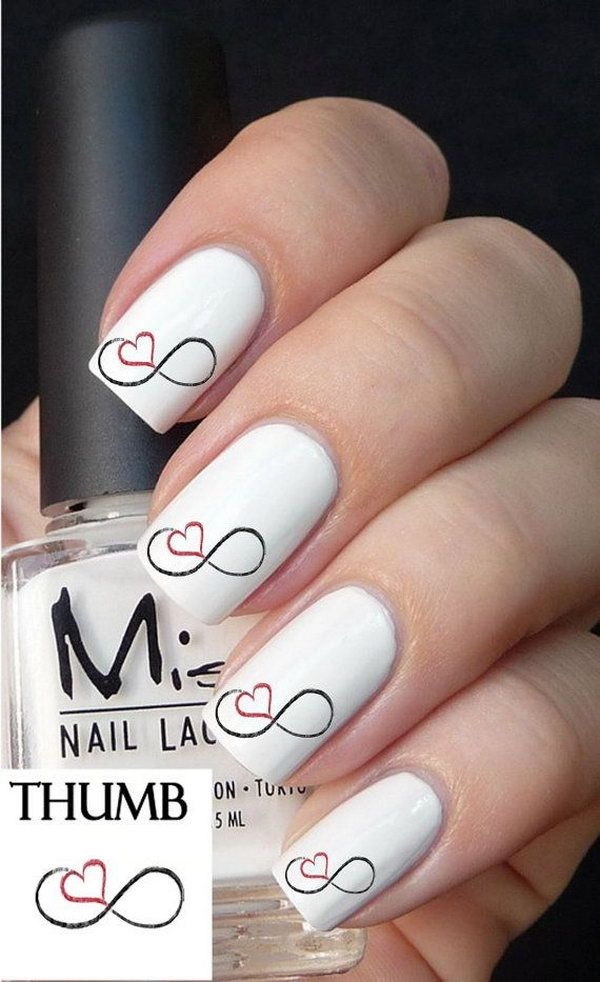 Infinity Heart Nail Design.