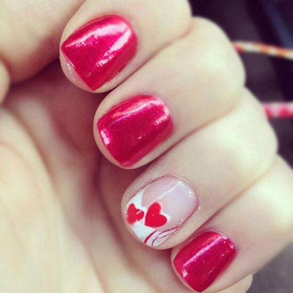 Red Heart Nail Art Design.