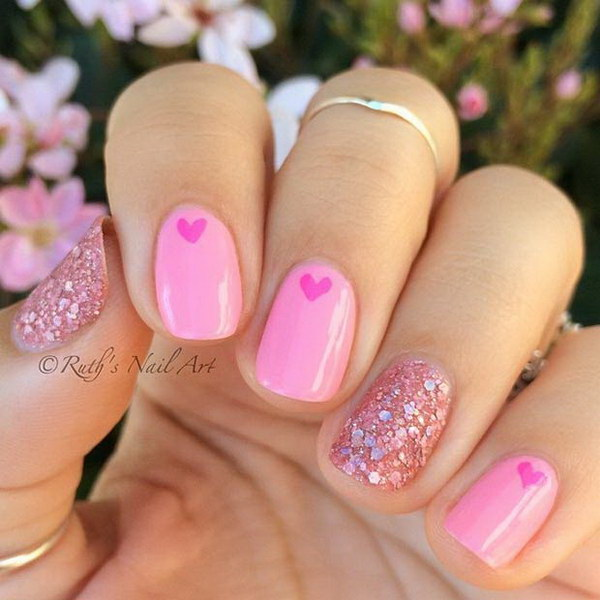 Pink Nails with Hearts and Sequins.