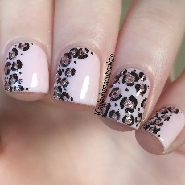 Soft pink and glitter leopard print nail art . - 50 Stylish Leopard And Cheetah Nail Designs - For Creative Juice