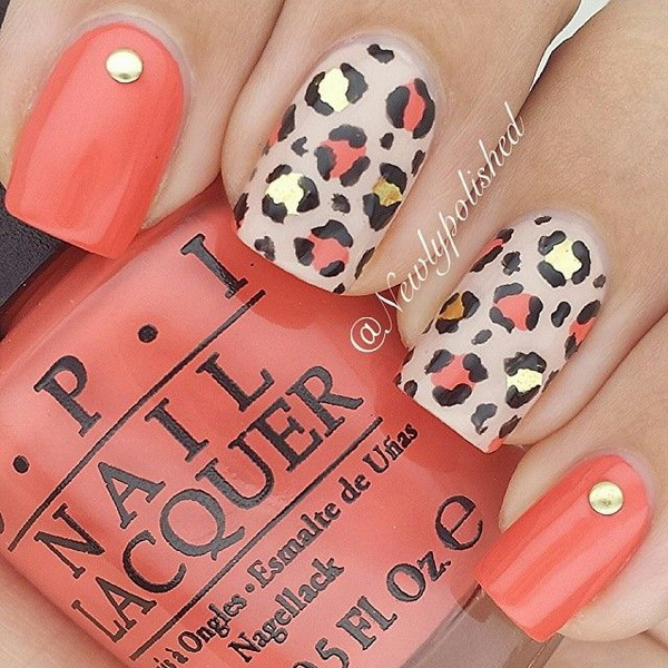 Leopard or Cheetah Nails with Studs. This nail design is using coral and  nude polish - 50 Stylish Leopard And Cheetah Nail Designs - For Creative Juice