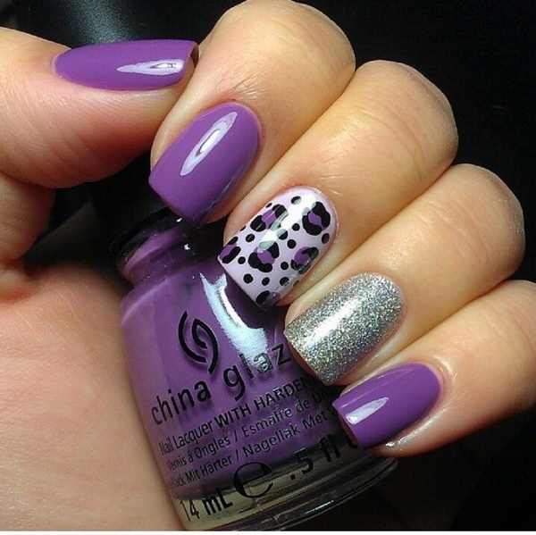 Purple and Glitter Leopard Nail Design. - 50 Stylish Leopard And Cheetah Nail Designs - For Creative Juice