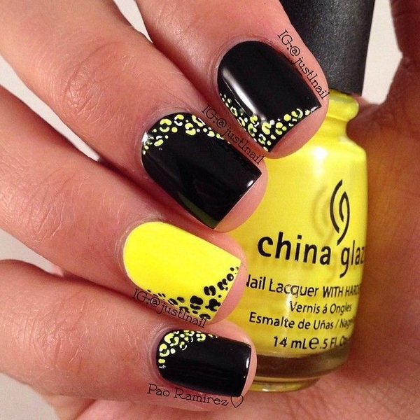 Yellow and Black Leopard Print Nail Design.