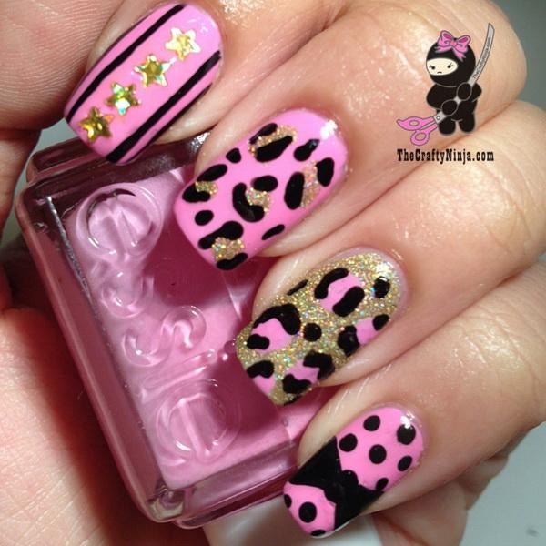 Pink Leopard Print Nails.