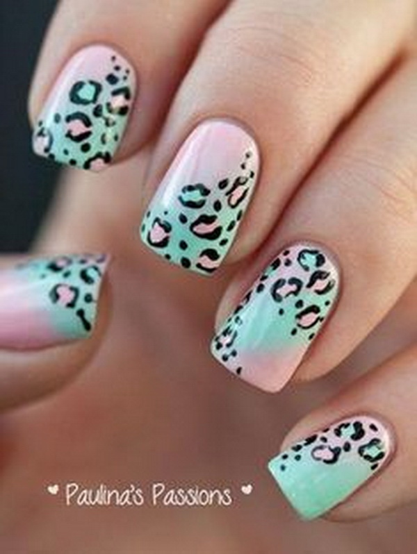 Pastel Lepoard Nail Art Design. Pastel green & pink nail polish as the base coating.