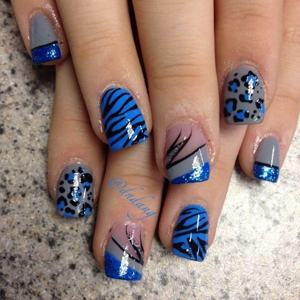 Blue Lepoard Nail Design.