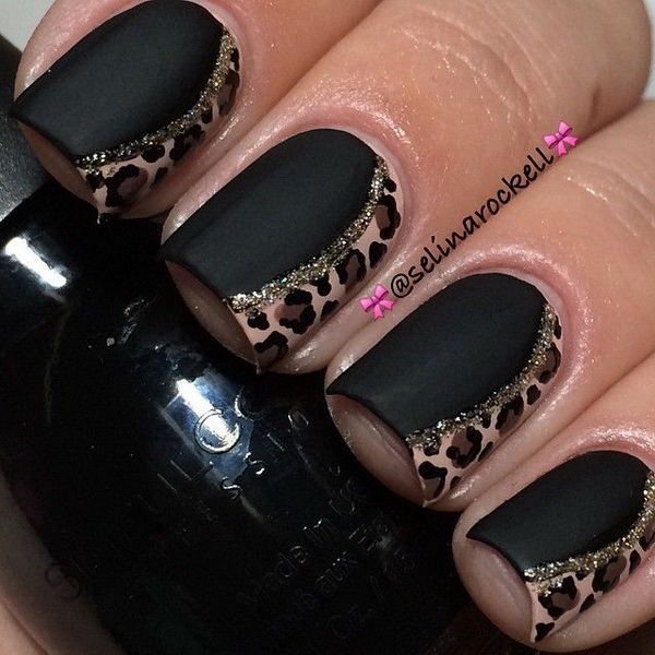 Matte Black Mani with Animal Print Accents.