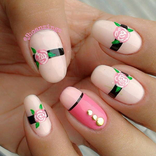 Pink Rose Nail Design. - 45 Pretty Pink Nail Art Designs - For Creative Juice