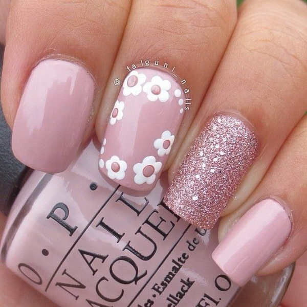 Pink and Glitter Summer Nail - 45 Pretty Pink Nail Art Designs - For Creative Juice