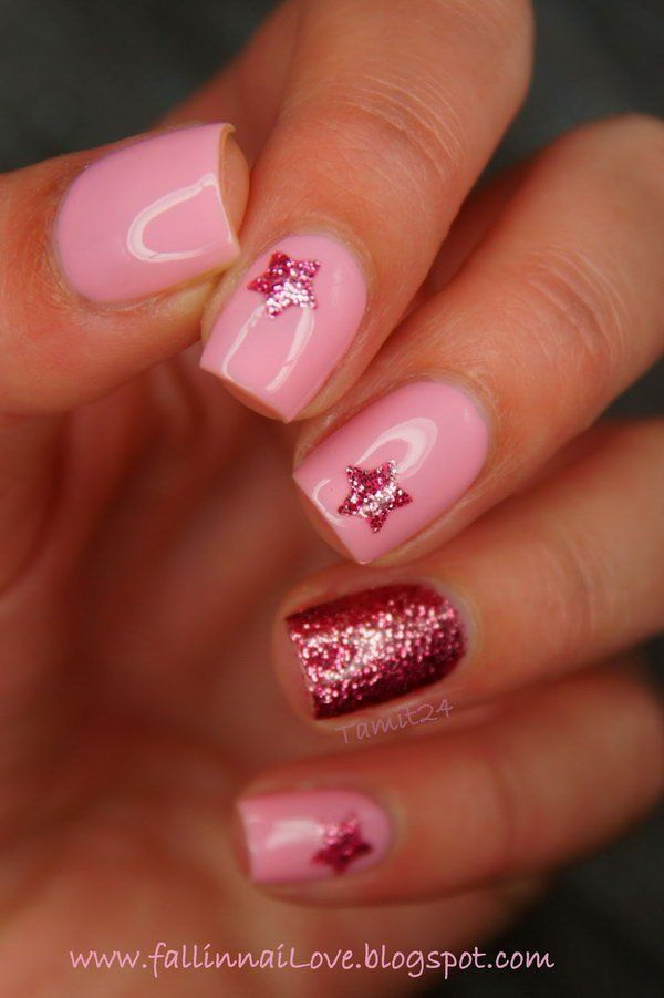 Twinkle Red and Pink Nail with Stars.