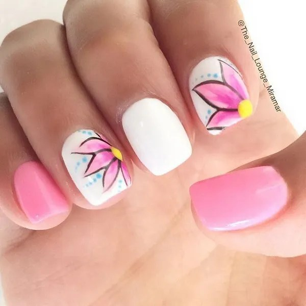 45 pretty pink nail art designs for creative juice beautiful white and pink nail design prinsesfo Choice Image