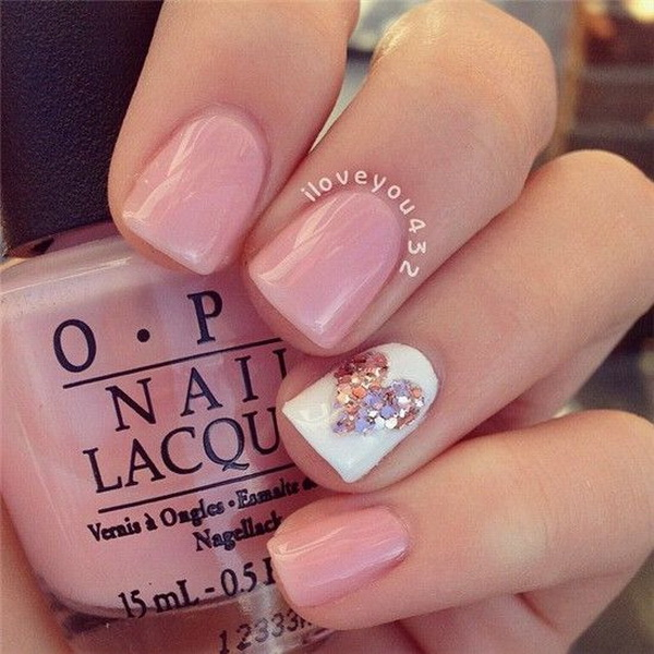 Pink and White Nail Design with a Glittery Heart Accent - 45 Pretty Pink Nail Art Designs - For Creative Juice