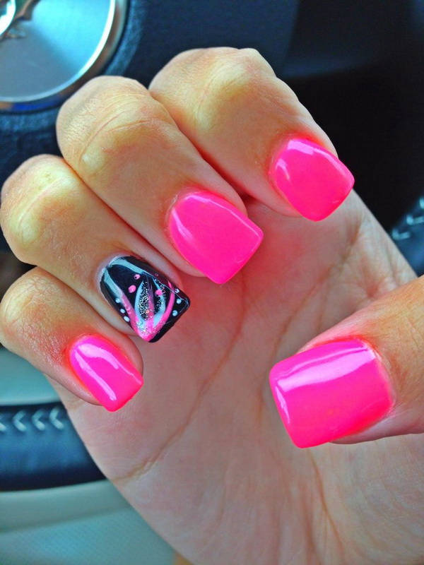 Pink & Black Acrylic Nail Design - 45 Pretty Pink Nail Art Designs - For Creative Juice