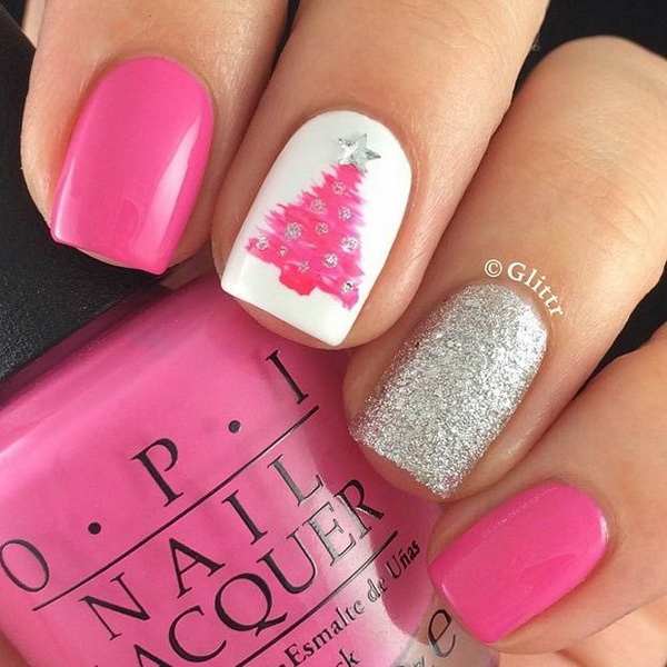 Pink Christmas Tree Nail Design.