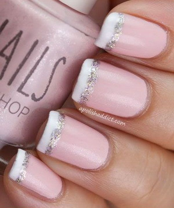 45 pretty pink nail art designs for creative juice pink french nail tipped with white and glitter prinsesfo Gallery