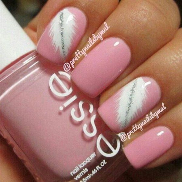 Pretty Pink & White Feathered Nail Art.
