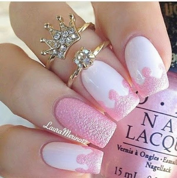 Pink & White Crown Nail Design.