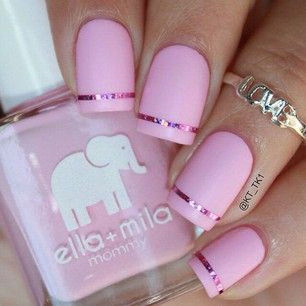 Baby Pink Matte Nails with Pink Metallic Foil Details.