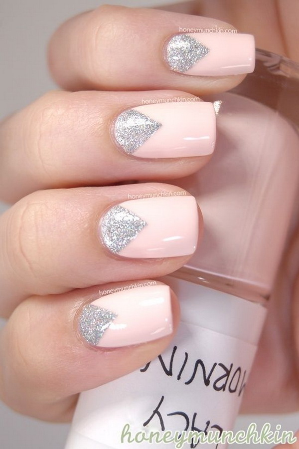 Pale Pink and Silver Nail Design - 45 Pretty Pink Nail Art Designs - For Creative Juice