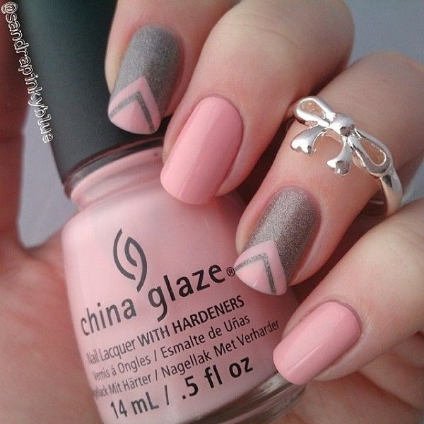 Pink V-Shape Nail Design - 45 Pretty Pink Nail Art Designs - For Creative Juice