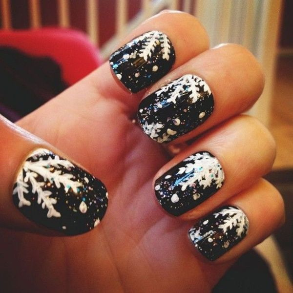 Winter Black Nail Art.