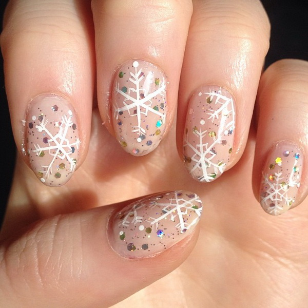 Nude Snowflake Winter Nail Design from Frecklepus - 25 Inspirational Winter Nail Art Ideas - For Creative Juice