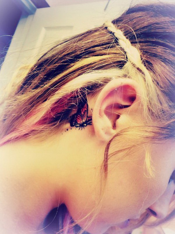 Butterfly Behind the Ear Tattoo.