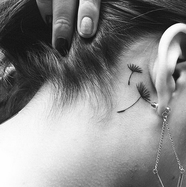 Small Dandelion Tattoo Behind The Ear.
