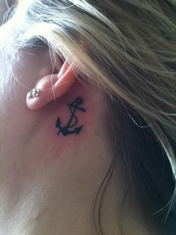 Anchor Tattoos Behind The Ear.
