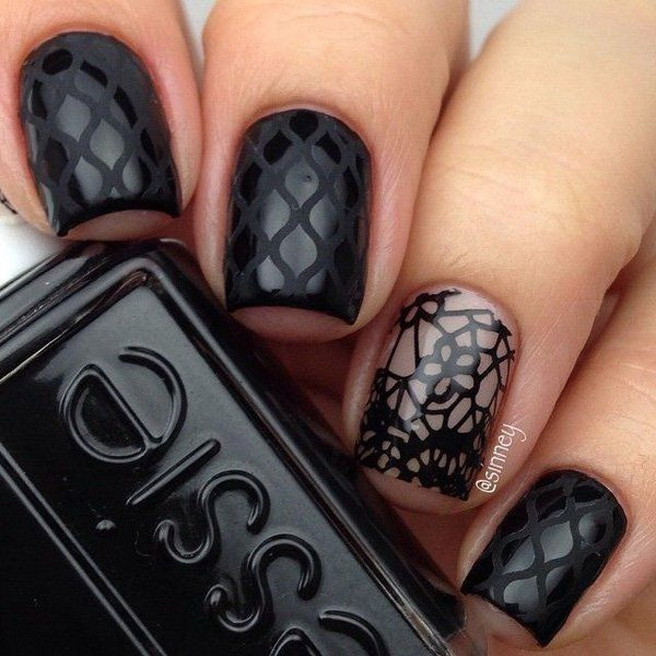 Patterned Black Nail Design.