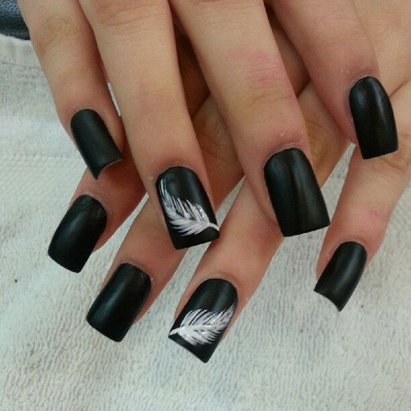 Black with Whispy White Feather Accent Nail Design - 25+ Elegant Black Nail Art Designs - For Creative Juice