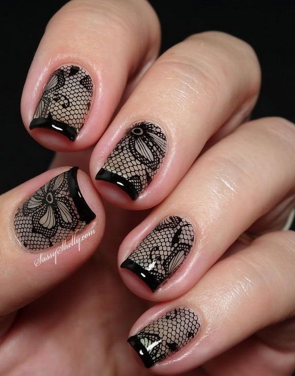 Black Lace Nail Art Design with French Tips.