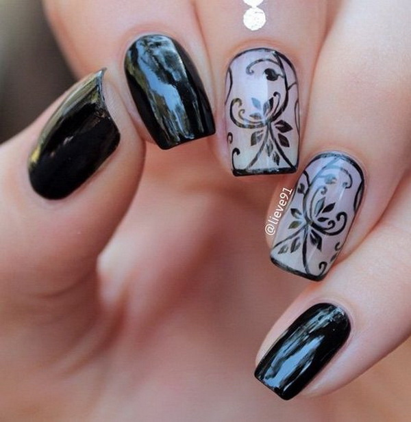 Black and Nude Floral Nail Art Design.