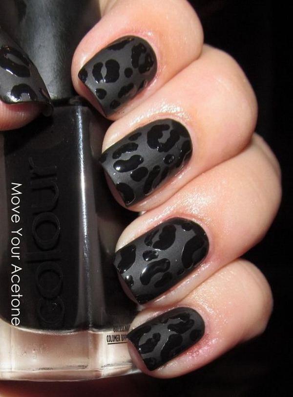 Black Leopard Manicure for Short Nails.