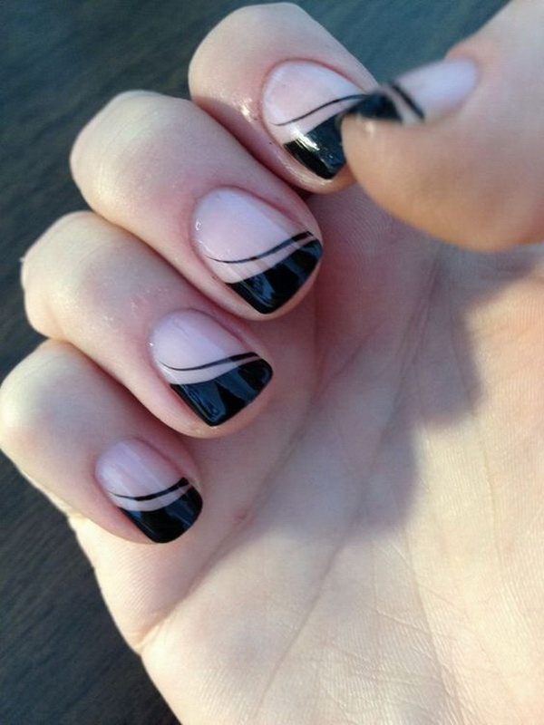 25 elegant black nail art designs for creative juice black french tips nail design prinsesfo Gallery