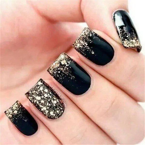 Black and Gold Glitter Nail Art - 25+ Elegant Black Nail Art Designs - For Creative Juice