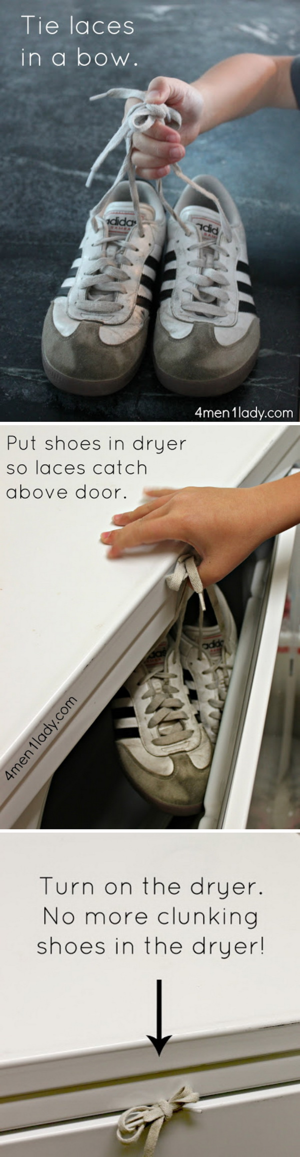 How to Dry Shoes In The Dryer: Wedge knotted laces in the dryer door to prevent the dreaded sneaker bang.