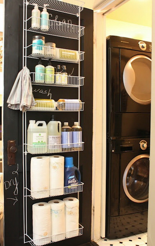 Use a hanging door rack to store cleaning items for easy access and saving the space of counter-tops and floor!
