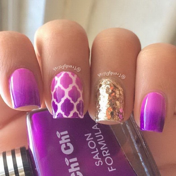 Purple And Gold Sequin Nails.